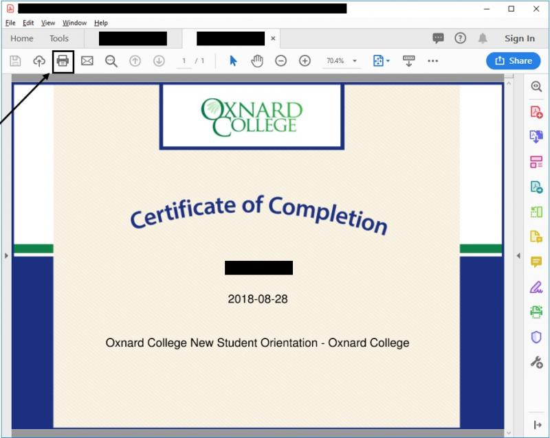 Exakmple of Certificate Completed by Student