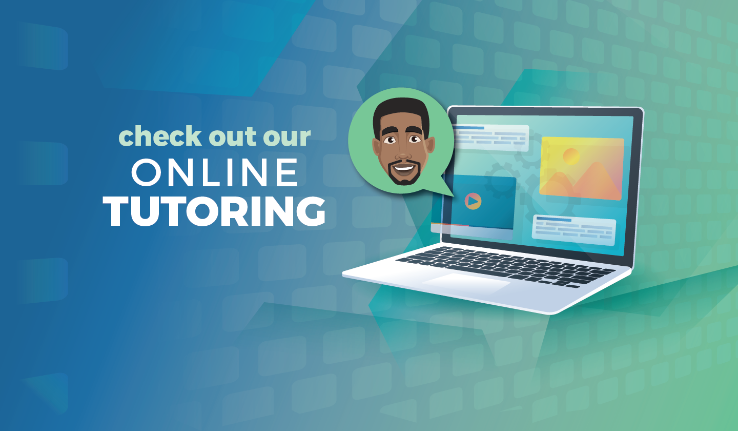 Graphic of a Laptop featuring an African American Male in a Chat Popup as available for tutoring help online
