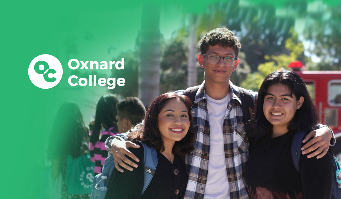 Photo of Oxnard College Students with logo and green gradient
