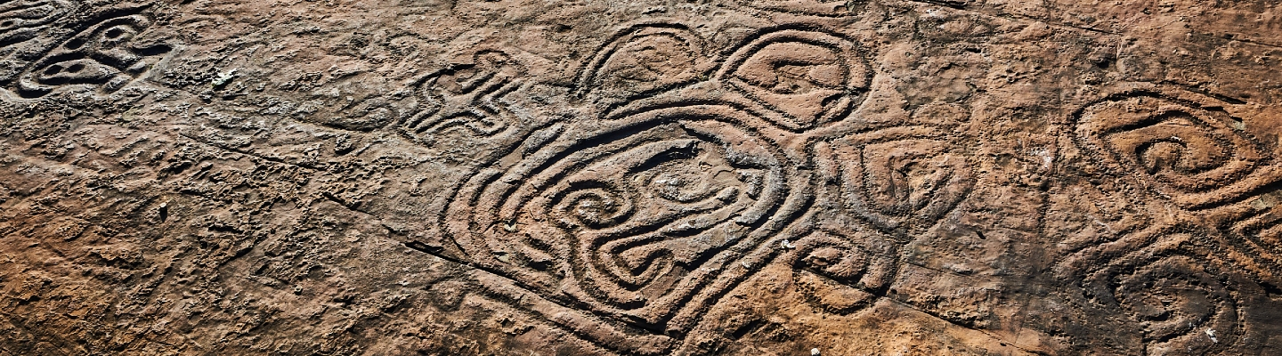 close up of design carved into rock