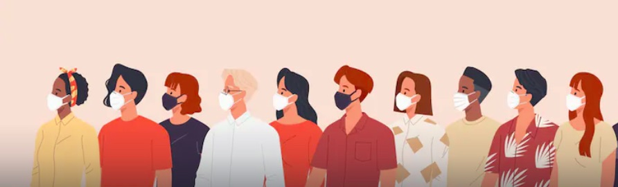 animated graphic of people wearing COVID-19 masks