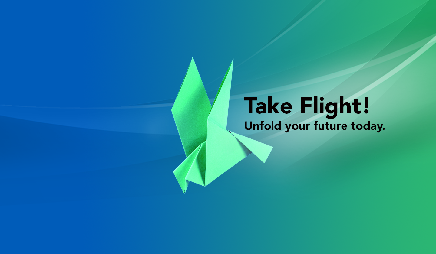 a graphic of a origami Condor with text that reads Take Flight! Unfold your future today.