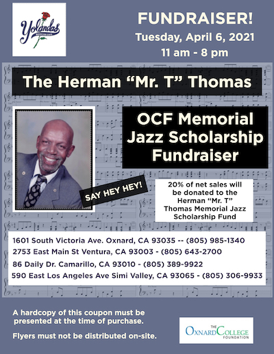 "flyer for Fundraiser event to support Herman ""Mr.T"" Thomas Memorial Jazz Scholarship"