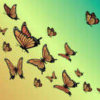 Several butterflies flying upward on a desaturated yellow an
