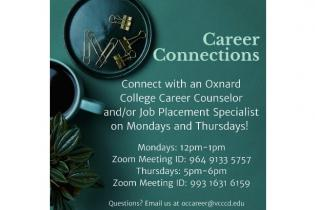 ad image for Career Connections via Zoom on Mondays and Thursdays