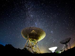 large telescopes with star filled sky