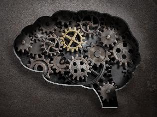 graphic of the brain with metal cogs and gears inside