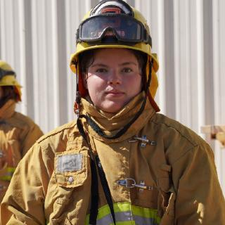 female fire technology student
