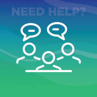 Graphic of People asking questions, with text that reads: NEED HELP?
