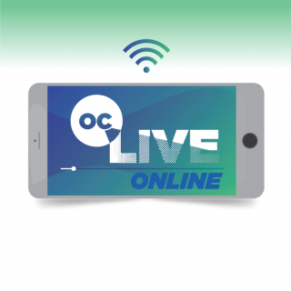 OC Live Online Logo in a graphic of a smartphone